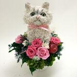 ペルシャ猫チンチラの プリザーブドフラワーアレンジPretty