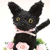 黒猫トピアリープリザーブドフラワー