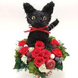 黒猫のトピアリー プリザーブドフラワーアレンジCute