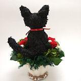 黒猫のトピアリープリザーブドフラワー