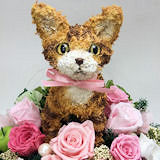 トラ猫のプリザーブドトピアリーフラワーアレンジBeauty