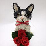 白黒ネコのプリザーブドフラワーアレンジpetit