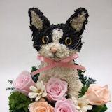 白黒ネコのプリザーブドフラワーアレンジpretty