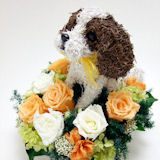 プリザーブドフラワーアレンジ犬