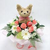 犬猫トピアリー 誕生日プレゼント 生花アレンジBirthday