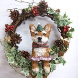 クリスマスリース 柴犬のトピアリーアイビー リース