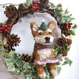 クリスマスリース 柴犬のトピアリーアイビーリース