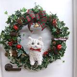 チンチラ猫のトピアリークリスマスリース(アートタイプ)