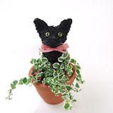 黒猫のトピアリー鉢植え