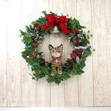 キジトラ猫のトピアリー クリスマスリース(アートタイプ)