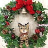クリスマスリース猫
