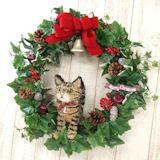 キジトラ猫のトピアリー クリスマスリース