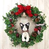 白黒猫(ハチワレ)のトピアリー クリスマスリース アートタイプ