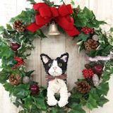 白黒猫のトピアリー クリスマスリース