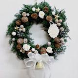 クリスマスリース プリザーブドフラワー ホワイト