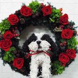 シーズー犬のトピアリー プリザーブドフラワー リース