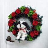 犬の プリザーブドフラワー クリスマスリース