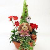 クリスマス寄せ植え 動物トピアリー部分染めタイプ