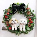 犬のクリスマスリース 2匹の犬タイプ