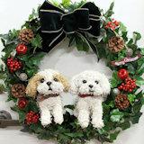 犬トピアリークリスマスリース