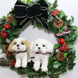 クリスマスリース犬