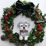 シュナウザー 犬トピアリークリスマスリース