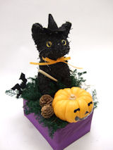 黒猫のプリザーブドフラワーアレンジハロウィンレッスン