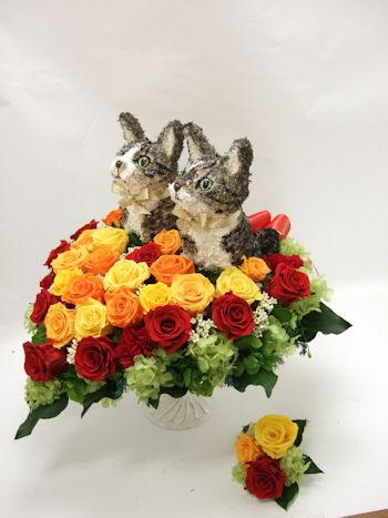 猫のウェディングブーケ