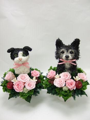 結婚式のウェルカムドールにペットのオーダーメイド犬と猫のトピアリー