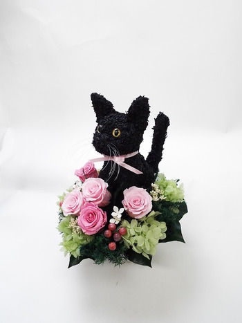 黒猫 プリザーブドフラワー