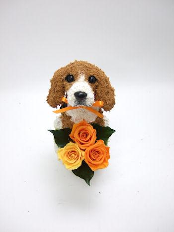 ビーグル犬のプリザーブドフラワーアレンジ