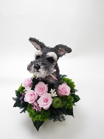 開店祝い プリザーブドフラワー 犬