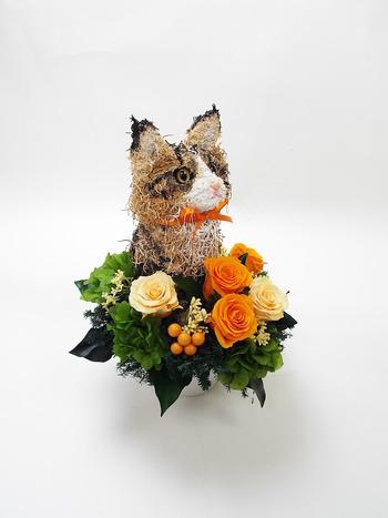 猫 プリザーブドフラワーアレンジ
