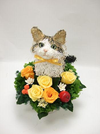 猫の花アレンジ