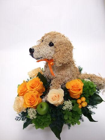 犬のプリザーブドフラワーアレンジ