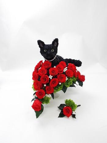 猫のオーダーメイドウェディングブーケ