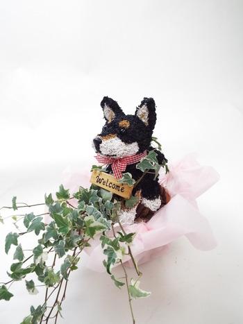 黒柴犬 トピアリー鉢植え