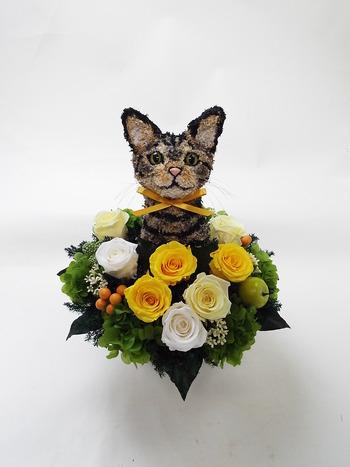 キジトラ猫 プリザーブドフラワーアレンジ