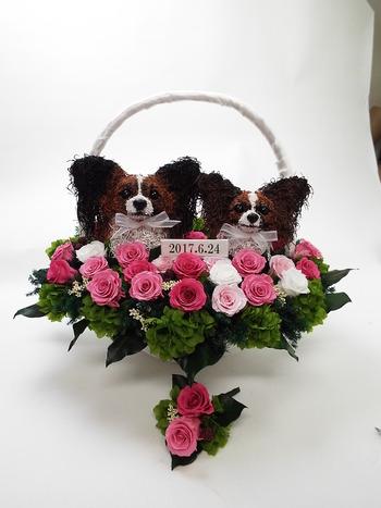 愛犬パピヨンのバスケットブーケ