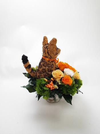 ベンガル猫 プリザーブドフラワーアレンジ