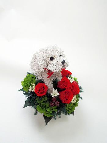 結婚記念日 プリザーブドフラワー 犬好き