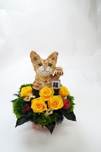 猫プリザーブドフラワーアレンジ