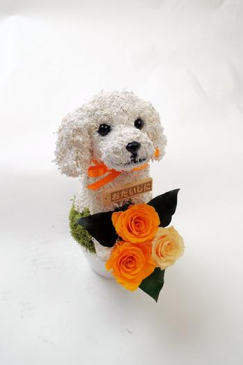 犬プリザーブドフラワーアレンジ