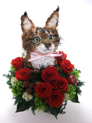 猫好き還暦祝いの花