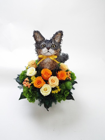 ペットホテル開店祝い 猫花