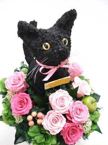 動物病院開院祝いの黒猫のトピアリープリザーブドフラワーアレンジ