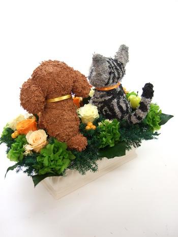 犬猫動物 プリザーブドフラワーアレンジ
