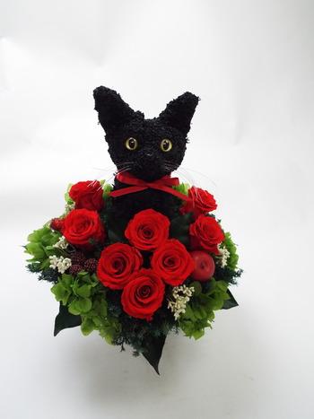 黒猫プリザーブドフラワーアレンジ