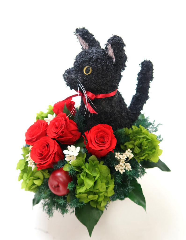 プリザーブドフラワー黒猫
