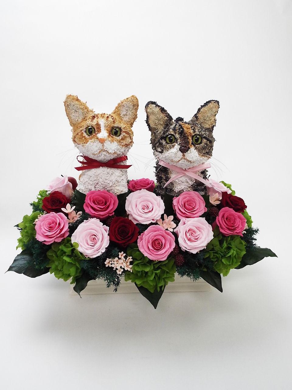 結婚式 猫プリザーブドフラワーアレンジ